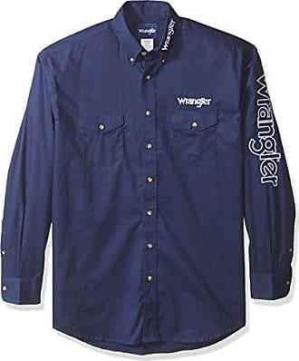 Wrangler Mens Logo Big and Tall Two Pocket Long Sleeve Shirt, navy 2X