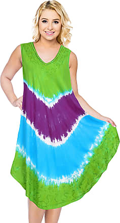 La Leela Womens Embroidered Tie Dye Short Beach Dress Vintage Casual Midi Evening Loungewear Sleeveless Daily wear Tunic Dress One Size Large Cruise wear Green