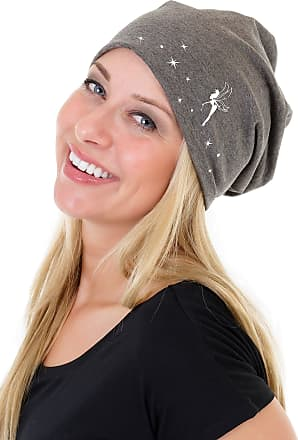 3Elfen Ladies Jersey Slouch Beanie HAT with Pixie Dust Print Simple Classic - Grey