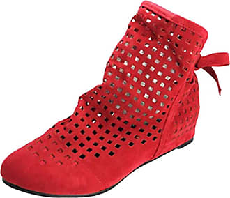 junkai Summer Ankle Boots, Womens Casual Boots Pointed Toe Booties Low Wedge Heel Lace Slip On Leather Boots Shoes Red