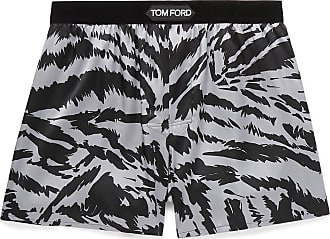 Tom Ford Velvet-trimmed Zebra-print Stretch-silk Satin Boxer Shorts - Multi