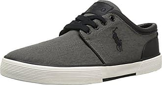 Polo Ralph Lauren Mens Faxon Low Sneaker, Black Washed Twill, 14 D US