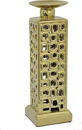 Three Hands HRT-38920 Ceramic Candle Holder, 14, Gold