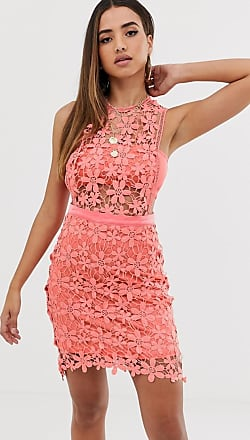 Missguided lace shift dress in coral-Orange
