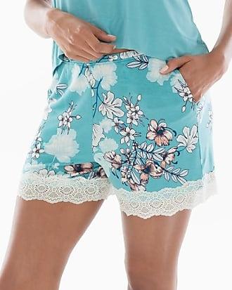 Soma Cool Nights Lace Trim Pajama Shorts Luminous Floral Aqua, Size XXL