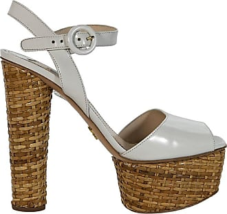 e2daeacccde Prada White Prada Leather Platform Sandals