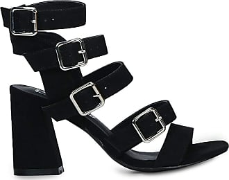 Truffle 100% Vegan Strappy Buckle Up Block High Heels Sandals Party Shoes - Black - UK 6