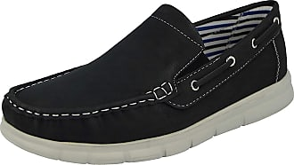 Cushion-Walk Mens Faux Leather Slip on Classic Boat Deck Casual Loafers Shoes Size 7-11 (8 UK, Black)