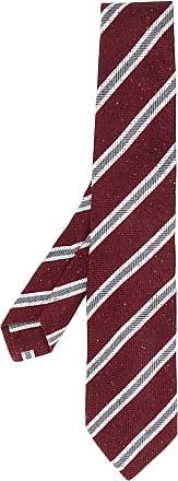 Kiton Gravata com estampa de listras - Vermelho