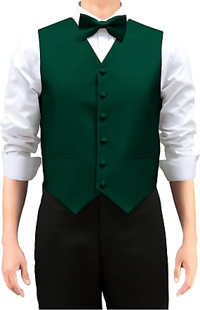 Retreez Mens Solid Color Woven Mens Suit Waistcoat, Dress Waistcoat Set with Matching Tie and Pre-Tied Bow Tie, 3 Pieces Gift Set as a, Birthday Gift - Dark G