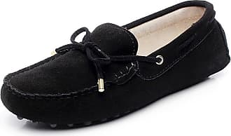Jamron Womens Classic Suede Bow Tie Loafers Comfort Handmade Slipper Moccasins Black 24208-2 UK6.5