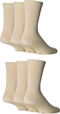 SockShop Mens 6 Pair SockShop Comfort Cuff Plain Bamboo Socks - Natural 6-11