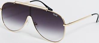 Quay Quay - Schild-Sonnenbrille in Schwarz/Gold