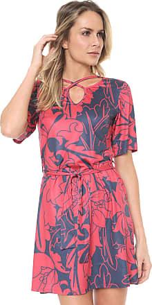 Dimy Vestido dimy Curto Estampado Vermelho/Azul-marinho