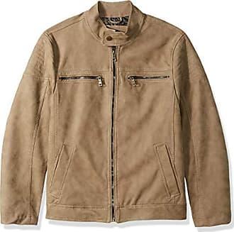 Urban Republic Mens Pu Suede Faux Leather Jacket, Saddle, S