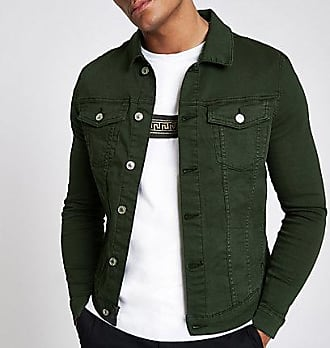 River Island Mens Dark green muscle fit denim jacket