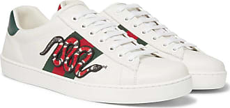 White Gucci trimmed Watersnake Sneakers Appliquéd Ace Leather PPYqw6z