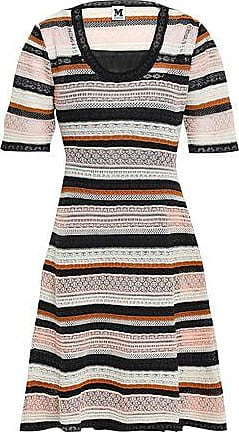 fd2348de41570 M Missoni M Missoni Woman Striped Crochet-knit Mini Dress Pastel Pink Size  40