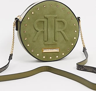 River Island embossed logo circular crossbody bag in khaki-Green