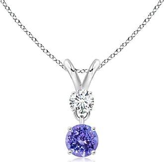 Angara Valentine Day Sale - Round Tanzanite and Diamond Two Stone Pendant