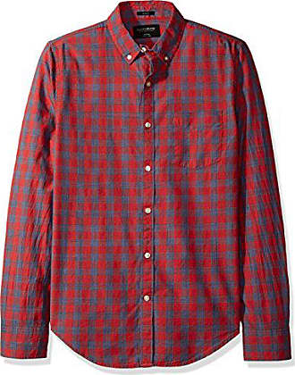 Lucky Brand Mens Washed Multi Woven Shirt, Red/Blue, Large