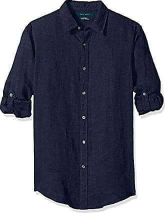 428a2d456d42 Perry Ellis Mens Long Sleeve Solid Linen Button-Up Chambray Shirt, Navy -4chw7081