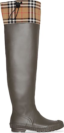 6001e80b931 Burberry Vintage Check and Rubber Knee-high Rain Boots - Brown