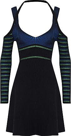 Opening Ceremony Opening Ceremony Woman Cold-shoulder Striped Ribbed-knit Mini Dress Black Size XS