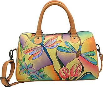 Anuschka Anna by Handpainted Leather Large Zip Around Satchel, Dragonfly  Glass Painting 71d5b793ad
