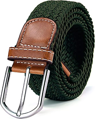 DonDon Braided stretch belt elastic for women and men length 39 to 51 inch - 100 cm to 130 cm green