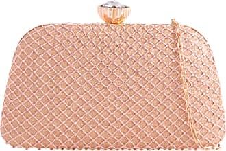 Girly HandBags Women Glitter Satin Clutch Bag - Champagne