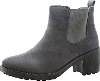 Saute Styles Ladies Chelsea Ankle Boots Womens Block Chunky Mid Heel Side Zip Work Shoes Size (3 UK, Grey Suede Office)