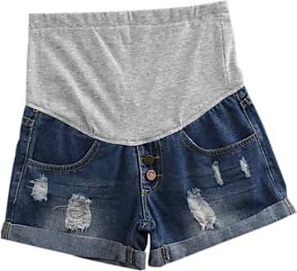 Inlefen Women Maternity Denim Jean Shorts Lounge Shorts Pregnancy Short Pants Adjustable Over Bump Jeans Pants (28 Dark blue-2XL)