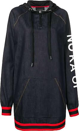 No Ka'Oi printed stripe trim zip hoodie dress - Blue