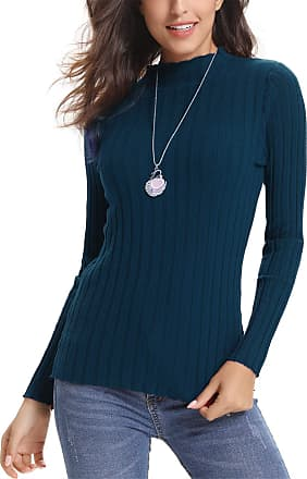 Abollria Womens Crew Neck Long Sleeve Chunky Knit Ribbed Sweater Jumper Knitwear Top Blue