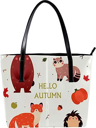 Nananma Womens Bag Shoulder Tote handbag Zipper Purse Top-handle Zip Bags - Hello Autumn Forest Animals