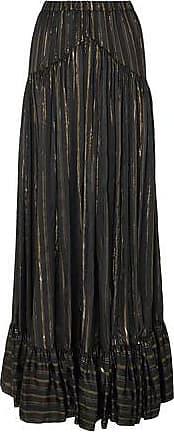 Philosophy di Lorenzo Serafini Philosophy Di Lorenzo Serafini Woman Metallic Striped Silk-blend Jacquard Maxi Skirt Black Size 40