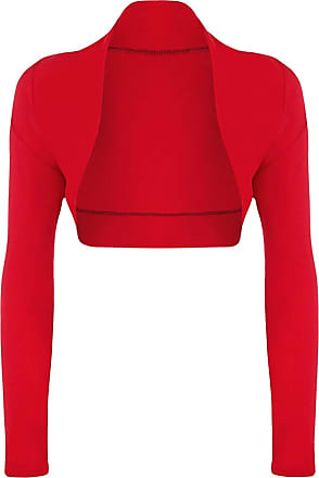 Top Fashion18 Top Fashion Womens Long Sleeve Ladies Short Cropped Open Shrug Bolero Cardigan Top UK Size 8-26 Red