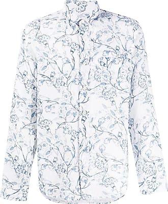 120% Lino Camisa com estampa floral - Branco
