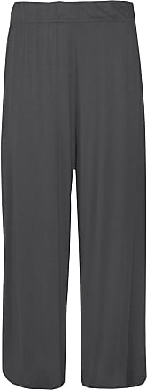 21Fashion Ladies Fancy Party Wide Leg Plain Palazzo Trouser Womens Plus Size Flared Pants Charcoal Medium/Large