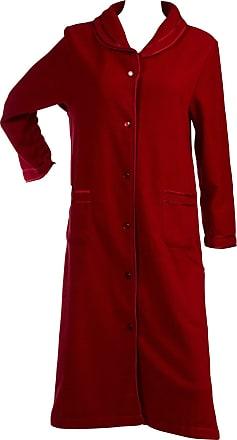 Slenderella Ladies Anti Pill Button Up Dressing Gown Satin Trim Polar Fleece Bath Robe Red (Large)