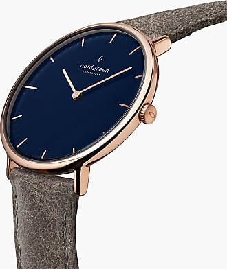 Nordgreen Native | Navy Dial - Patina Grey Leather - 40mm / Rose Gold