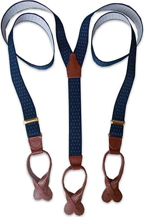 Albert Thurston Button Braces Wine Mod Stripe with Navy Leather/Brass Fittings