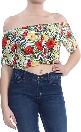 xoxo Womens Green Printed Short Sleeve Off Shoulder Crop Top Top Size: L