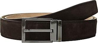 Salvatore Ferragamo Adjustable Square Buckle Dress (Brown) Mens Belts