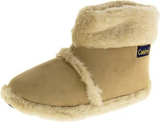 Footwear Studio Coolers Womens Beige Faux Suede Fur Lined Boot Slippers 5-6 UK