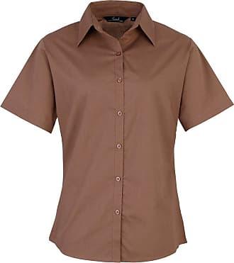 Ladies Plain Work Shirt-Lilac-Size 14 Womens poplin long sleeve blouse