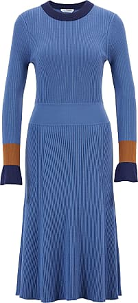 BOSS Knitted long-sleeved dress with colorblocking