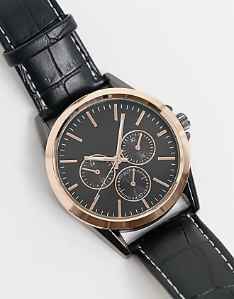 Topman faux leather chronograph watch in black