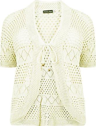 Islander Fashions Womens Plus Size Crochet Knit Bolero Cardigan Shrug Top Cream 1X-Large